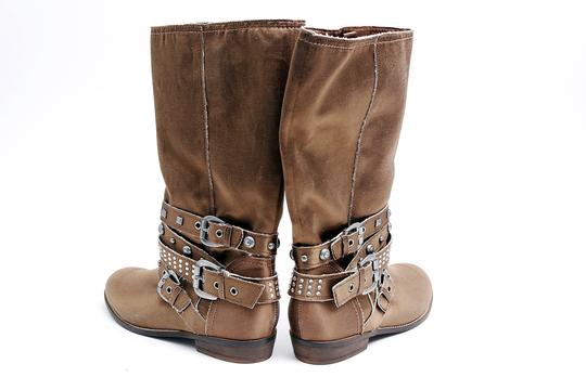 Guess Jewels Studs Flat Brown Boots Image 3