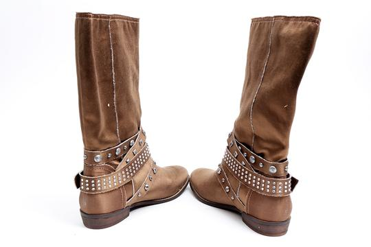 Guess Jewels Studs Flat Brown Boots Image 4