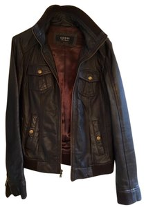 Guess Leather Bomber Dark Brown Leather Jacket