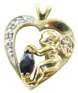 10K SOLID YELLOW GOLD PENDANT HEART CHARM 4 DIAMONDS .4 CARAT ANGEL 2.7 GRAMS