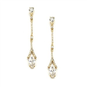Linear Gold Micro Pave & Marquis Drop Bridal Earrings
