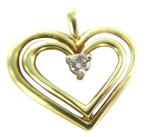 Other 10K SOLID YELLOW GOLD PENDANT HEART CHARM 1 DIAMONDS .10 CARAT 1.3 GRAMS LOVE