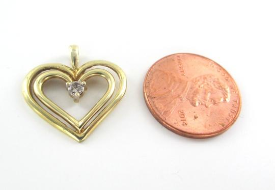 Other 10K SOLID YELLOW GOLD PENDANT HEART CHARM 1 DIAMONDS .10 CARAT 1.3 GRAMS LOVE Image 1