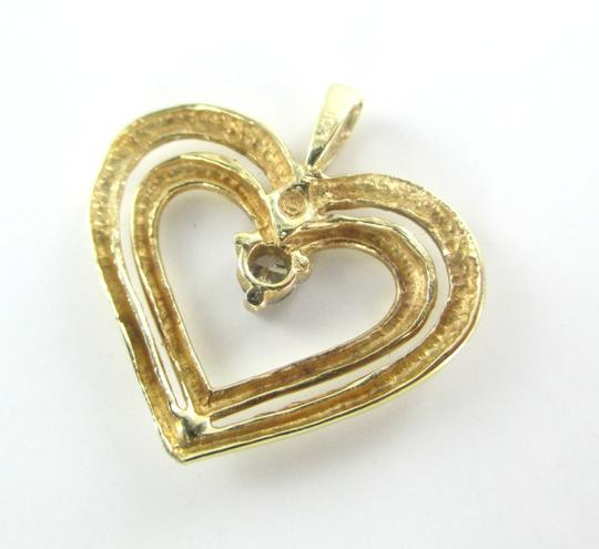 Other 10K SOLID YELLOW GOLD PENDANT HEART CHARM 1 DIAMONDS .10 CARAT 1.3 GRAMS LOVE Image 2