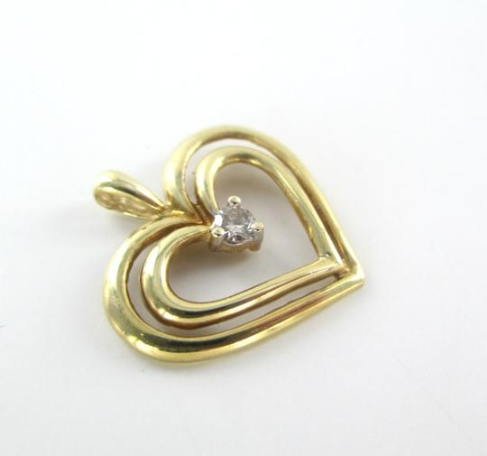 Other 10K SOLID YELLOW GOLD PENDANT HEART CHARM 1 DIAMONDS .10 CARAT 1.3 GRAMS LOVE Image 3