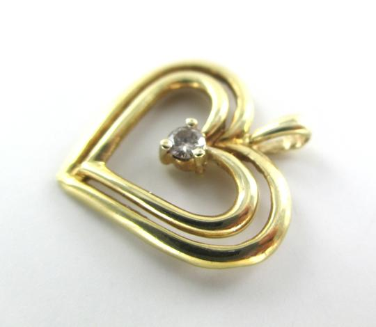 Other 10K SOLID YELLOW GOLD PENDANT HEART CHARM 1 DIAMONDS .10 CARAT 1.3 GRAMS LOVE Image 4