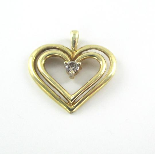 Other 10K SOLID YELLOW GOLD PENDANT HEART CHARM 1 DIAMONDS .10 CARAT 1.3 GRAMS LOVE Image 5