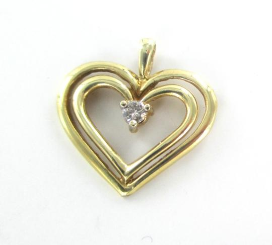 Other 10K SOLID YELLOW GOLD PENDANT HEART CHARM 1 DIAMONDS .10 CARAT 1.3 GRAMS LOVE Image 6