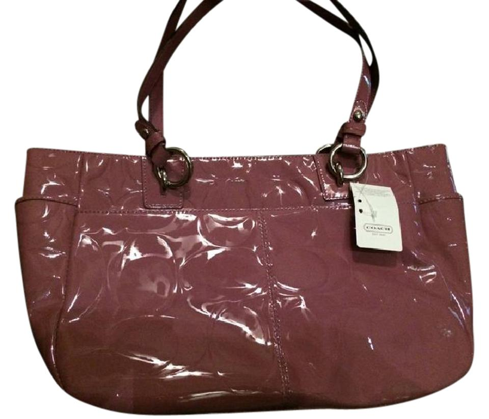 95f5b48b25 Coach F17728 Gallery Embossed Sign Shoulder - Rose (Dark Pink) Patent  Leather Tote