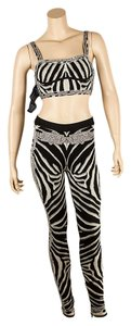 Hervé Leger Pant Set Zebra Stripe Skinny Pants Black White