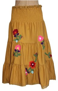 Lucca Tiered Embroidered Skirt YELLOW
