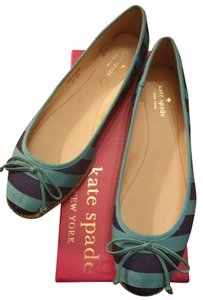 Kate Spade Striped Textured Ribbon turquoise Flats