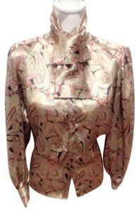 Oscar de la Renta Luxury Silk Top multiple bronze black redyellow