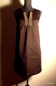 Ann Taylor LOFT short dress Beaded Chocolate Retro Boho Chic 60s on Tradesy
