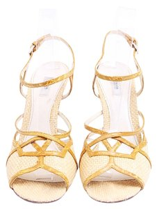 Prada Sandals Pantent Leather Crystals Chunky Heel Yellow Pumps