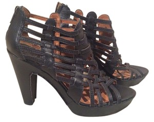 Lucky Brand Leather Woven Open Toe Black Pumps