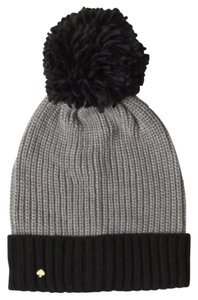 Kate Spade Kate Spade Black and Gray Color Block Beanie With Pom
