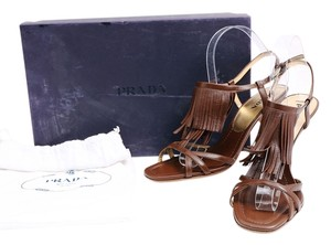 Prada Leather Fringe Ankle Strap Sandals Brown Pumps