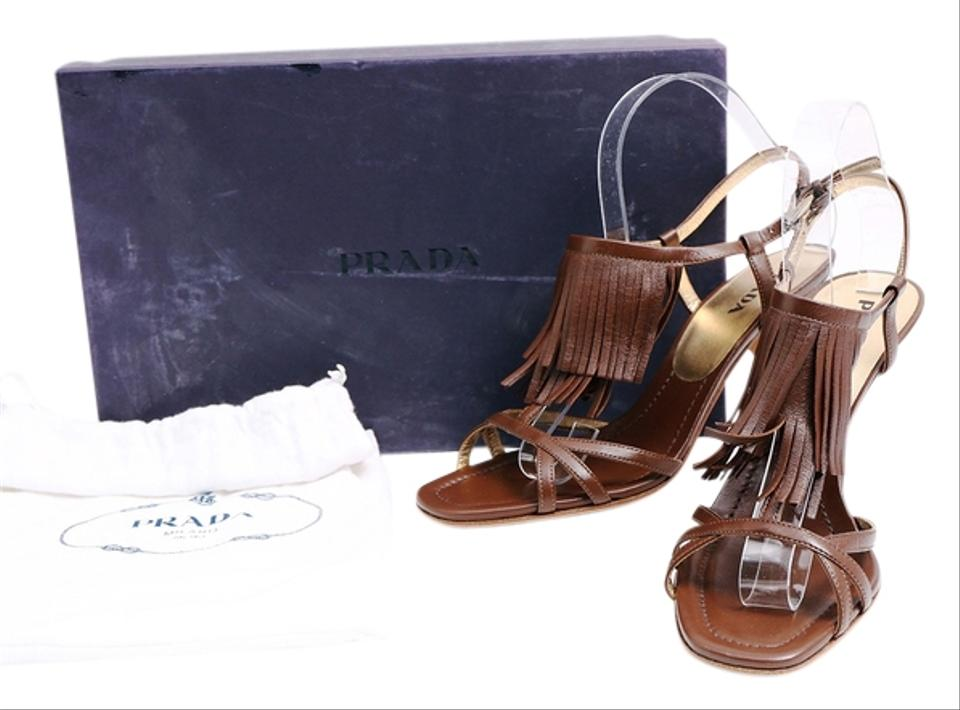 authentic pradas for cheap - Prada Fringe Leather High Heel Sandals Size 9 Brown Pumps on Sale ...