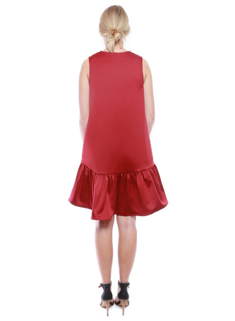 FRNCH Ruffle Pockets Party Satin Holiday Dress Image 1