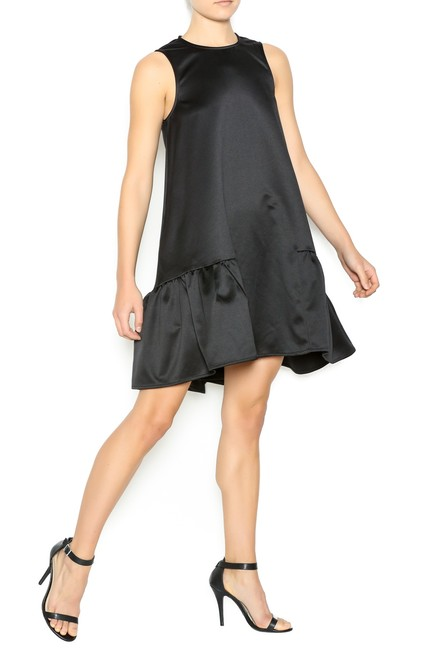 FRNCH Ruffle Pockets Party Satin Holiday Dress Image 3