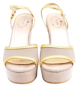 Prada Monogram Sandals Ankle Strap Gold Wedges