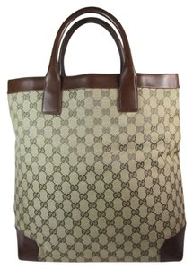 Gucci Gg Logo Monogram Large Leather Tote