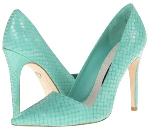 Alice + Olivia Snake embossed Teal Pumps