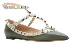 Valentino Leather Rockstud Green 40(EU) NWT Flats