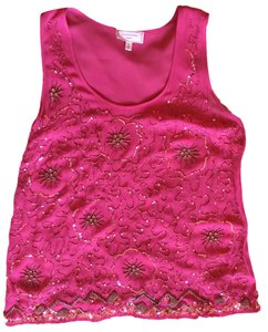 Anthropologie Beaded Sequin Fancy Dressy Top Hot Pink