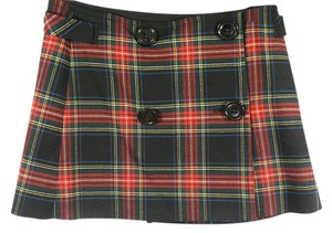 Gap New Old Skool Mini Skirt RED AND BLACK GREEN AND YELLOW PLAID