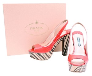 Prada Coral Patent Leather Slingback Chunky Heel Peep Toe Red Platforms