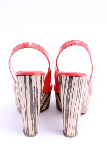 Prada Coral Patent Leather Slingback Chunky Heel Peep Toe Red Platforms Image 4