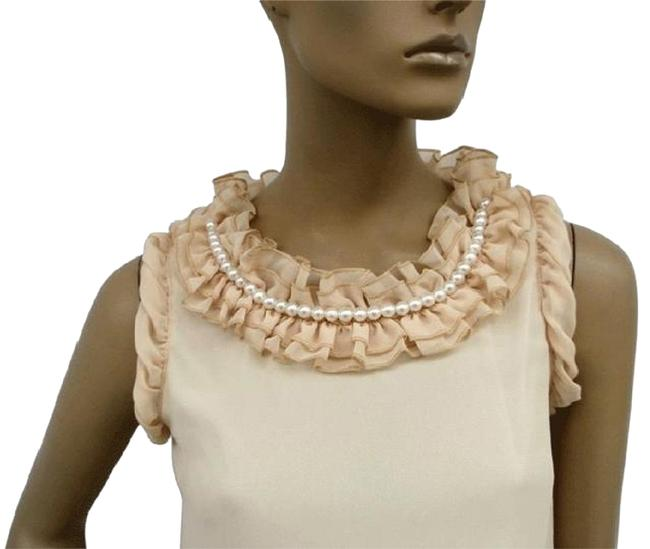 Preload https://img-static.tradesy.com/item/1091409/beige-ruffle-collar-w-pearls-chiffon-sleeveless-fashion-long-topmini-dress-blouse-size-8-m-0-2-650-650.jpg