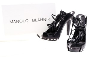Manolo Blahnik Leather Clog Studs Black Platforms