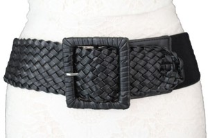 Other Women Fashion Belt Black Elastic Fabric Braided Faux Leather Hip High Waist
