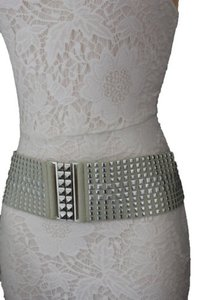 Alwaystyle4you Women Belt Ivory Elastic Band Hip Waist Silver Buckle Squares Studs
