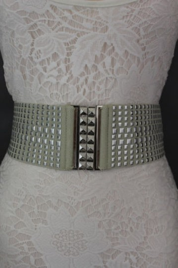 Other Women Fashion Belt Ivory Elastic Band Hip Waist Silver Buckle Squares Studs Image 10
