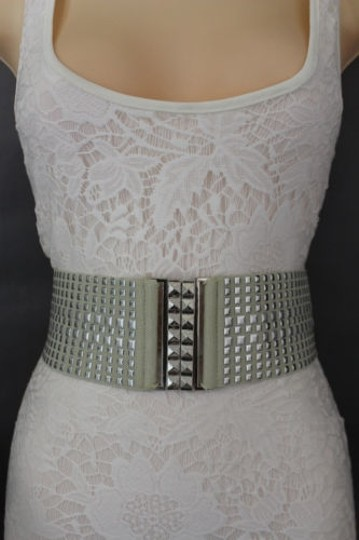 Other Women Fashion Belt Ivory Elastic Band Hip Waist Silver Buckle Squares Studs Image 3
