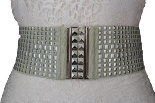 Other Women Fashion Belt Ivory Elastic Band Hip Waist Silver Buckle Squares Studs Image 4