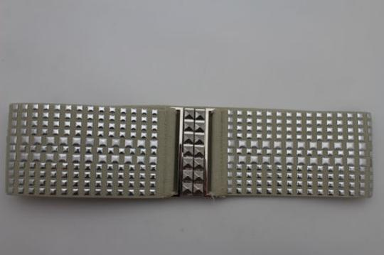 Other Women Fashion Belt Ivory Elastic Band Hip Waist Silver Buckle Squares Studs Image 5
