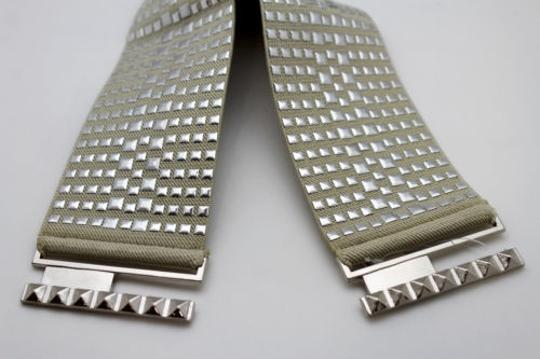 Other Women Fashion Belt Ivory Elastic Band Hip Waist Silver Buckle Squares Studs Image 8