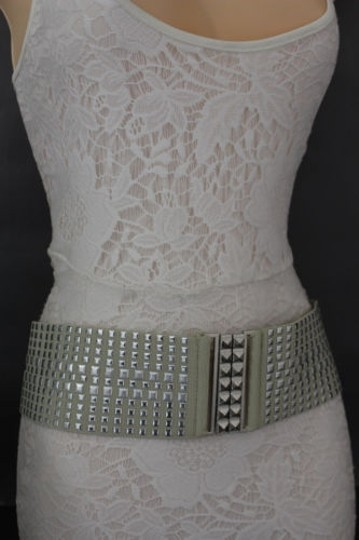 Other Women Fashion Belt Ivory Elastic Band Hip Waist Silver Buckle Squares Studs Image 9