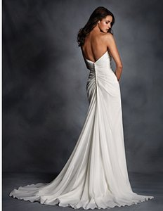 Alfred Angelo White / Silver Chiffon Style 2514w Wedding Dress Size 14 (L)