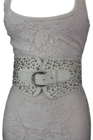 Other Women Western Fashion Belt White Fabric Hip High Waist Silver Metal Studs Image 1