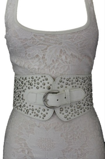 Other Women Western Fashion Belt White Fabric Hip High Waist Silver Metal Studs Image 2
