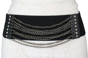 Women Fashion Belt Black Elastic Fabric Hip High Waist Pewter Metal Chains
