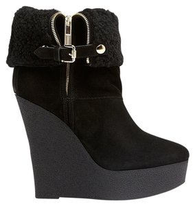 Burberry Studden Ship Fur Lined Shearling Lined Wedge Black Boots