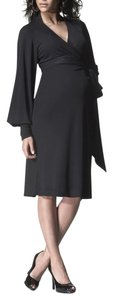 Isabella Oliver Isabella Oliver Bianca Caviar Black Liquid Jersey Wrap Style Dress US Size 12 14