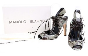 Manolo Blahnik Breda Snakeskin Leather Lace Up Multicolor/Black/Green Pumps